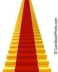 赤, 階段, 金, カーペット
