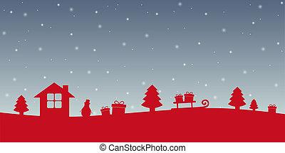 赤, 雪が多い, 冬の景色, クリスマス