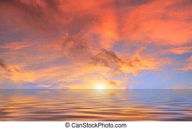赤, 雲, 日没, の上, 水