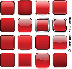 赤, app, icons., 広場