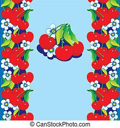 赤, cherries.