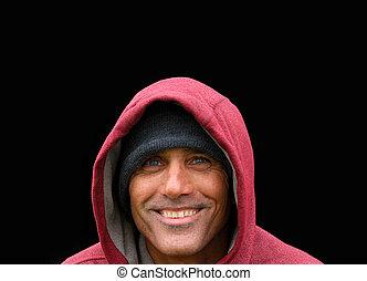 赤, hoodie, 人