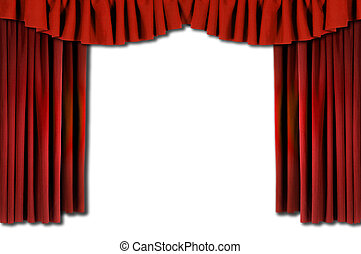 赤, horozontal, かけられた, 劇場, カーテン
