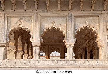 赤, pradesh, uttar, india., 城砦, agra.