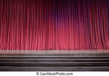 赤, stage., 古い, カーテン