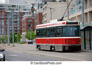 赤, tram., 都市 景色