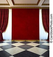赤, unfurnished, 部屋, 中に, クラシック, スタイル