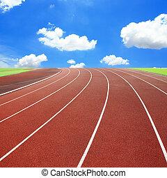 走っている小道, ∥で∥, 3, 車線, 上に, 空, そして, 雲