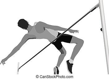 走り高跳び, 運動選手, 男性, 跳躍