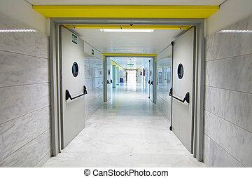 走廊, 火, 長, 門, 打掃, whith