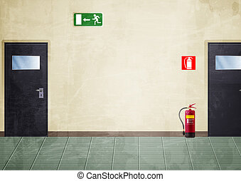 走廊, -, grunge, 風格, 顏色