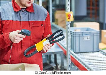 走査, レーザー走査器, 自動車, barcode, 労働者, 部分, スペアー, 倉庫
