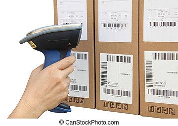 走査, 箱, barcode, 走査器, buletooth