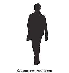 走, 他的, 结束, 侧面影象, 袋子, 矢量, 前面, 人, 肩, 察看