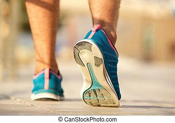 走, 体育运动鞋子, 人, 年轻