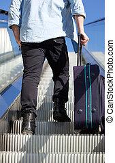 走, 自动楼梯, 旅行, 往回, , 袋子, 人