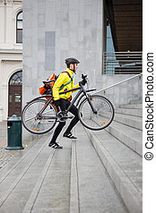 走, 自行车信使, 背包, , 发送, 走, 人