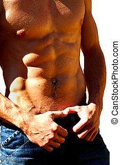 起波紋, 男性, 軀幹