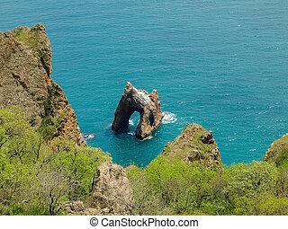 起源, 火山, 海岸, 海, 岩, アーチ