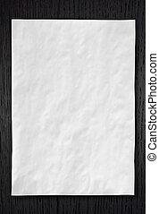 起皺紋, 白色, 紙, 上, 黑暗, 木頭, 背景