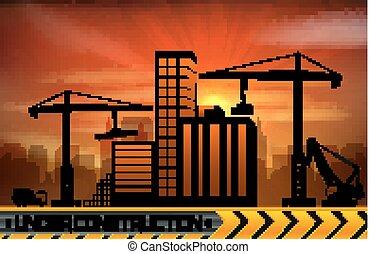 起重机, 建筑物, 建筑工地