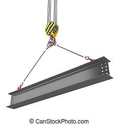 起重機, 鉤, 舉起, ......的, 鋼, 橫樑