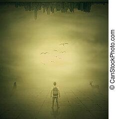 超現實主義, 圖像, 由于, a, 人站, 在, a, 有霧, 街道, 下面, a, 城市, buidings