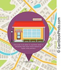 超級市場, 地圖, 位置, 別針