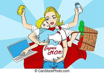 超級, 卡通, 媽媽