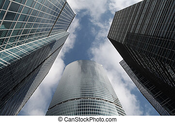 超高層ビル, と青, 空, ∥で∥, 雲