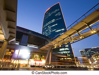 超高層ビル, -, オフィスビル, 中に, ダウンタウンに, 北京, ∥において∥, 日没, 時間