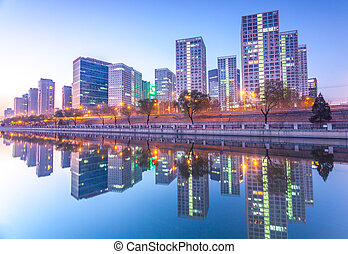 超高層ビル, -, オフィスビル, 中に, ダウンタウンに, 北京, ∥において∥, 日没, tim