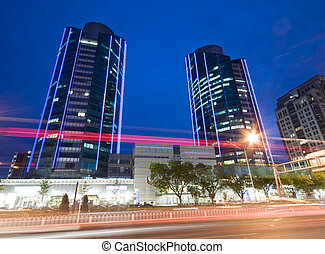 超高層ビル, -, オフィスビル, 中に, ダウンタウンに, 北京, 夜で
