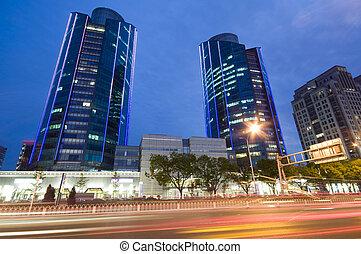 超高層ビル, -, オフィスビル, 中に, ダウンタウンに, 北京, 夜で, 時間