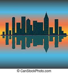 超高層ビル, スカイライン, ∥あるいは∥, 壁紙, sunrise., 日没, eps10, ベクトル, ...