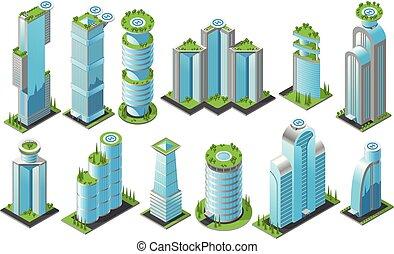 超高層ビル, セット, 等大, アイコン, 未来派