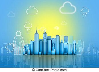 超高層ビル, 上に, a, 背景, の, ∥, 太陽, そして, 空, ありなさい, 引かれる, 中に, pencil.