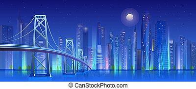 超高層ビル, 漫画, 橋, 未来派, 現代, ベクトル, ライト, 青, 都市, 夜, スカイライン, 都市の景観, 背景, 都市, 平ら, イラスト, 照らされた, ネオン