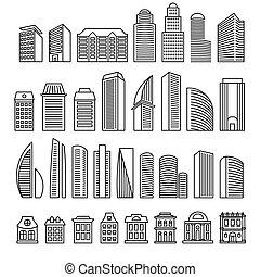 超高層ビル, 財産, ロゴ, サイン, モノクローム, constructions., 隔離された, logotypes., 実質, 都市, ブロック, ビジネス, 概説された, 設計された, brochure., 建物, illustration., ライン, ベクトル, 建築, 共同住宅, set.