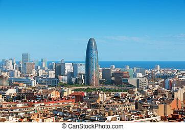 超高層ビル, barcelona`s, agbar., スカイライン, 含む, torre