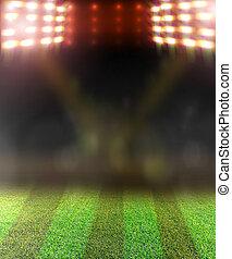 足球場, 以及, 明亮, spotlights.