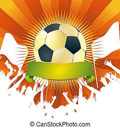 足球, 上, the, 盾