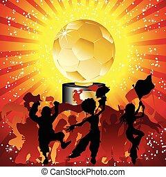 足球, 烏鴉, 黑色半面畫像, 由于, golde, trophy.