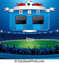 足球, 空, scoreboard.