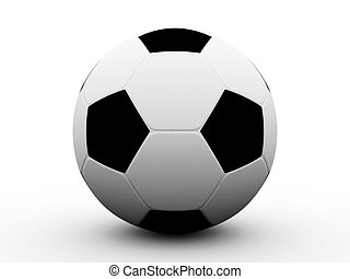 足球, 被隔离, 在懷特上, 背景。, 3d