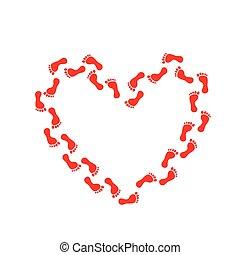 足跡, トラック, 赤い心臓