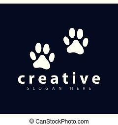足跡, ロゴ, ベクトル, 犬, テンプレート