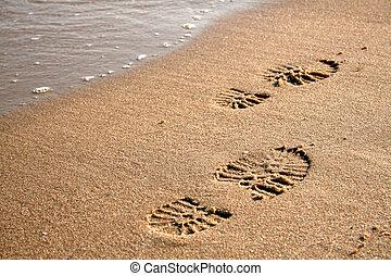 足跡, 在沙子上