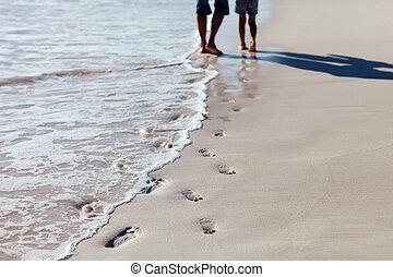 足跡, 浜