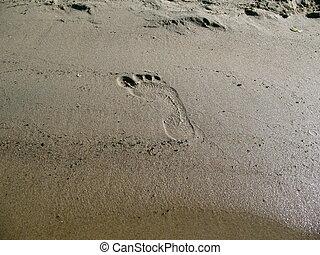 足跡, 砂, 人間